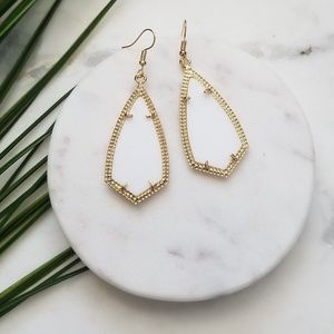5 for $25 Gold and White Geometric Earrings